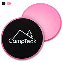 CampTeck 2x Dual Sided Gliding Discs Core Sliders for Home Fitness Workout, Abdominal & Full Body Exercises – For Use on Carpet & Hard Floors (Black)