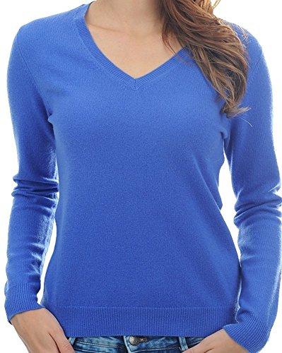 Balldiri 100% Cashmere Kaschmir Damen Pullover 2-fädig V Ausschnitt mit Bündchen kornblume S