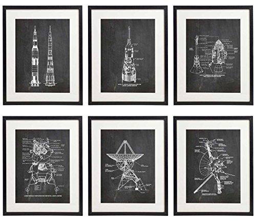 IDIOPIX Space 03 Patent Wall Decor Chalkboard Art Print Set of 6 Prints UNFRAMED