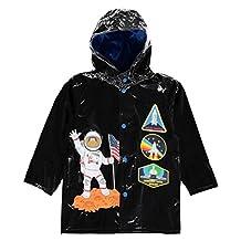 Wippette Little Boys Rainwear Astronaut Space Traveler Raincoat Jacket, Black, 6