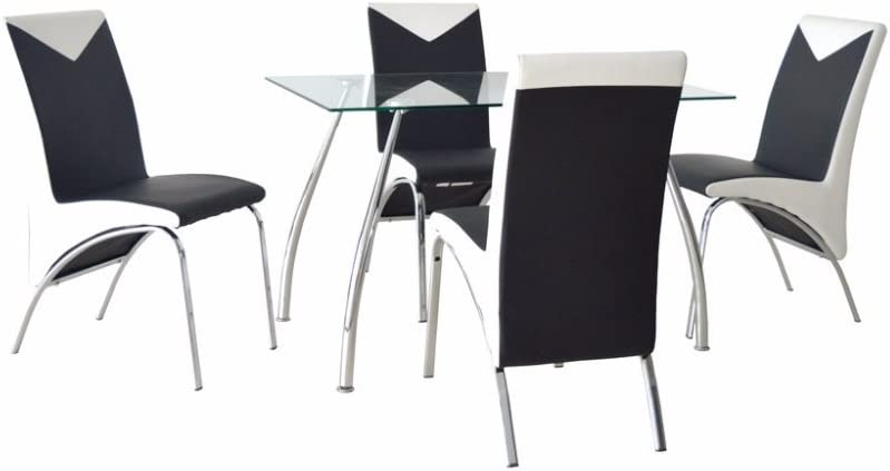 Jane Harris Interiors JHI Contemporary Glass Chrome Dining Room Table /& 4 Chairs