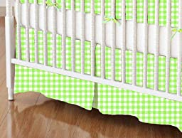 SheetWorld - Crib Skirt (28 x 52) - Primary Green Gingham Woven - Made In USA