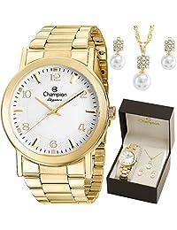 Kit Relógio Champion Feminino com Colar e Brincos Cn26822w