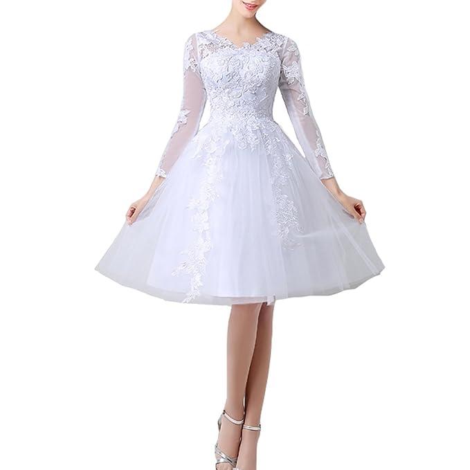 Kivary Beach Tulle Short Sheer Long Sleeves Lace Bridal