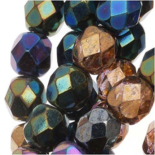 Jablonex BCP-3614 50 Piece Round 'Heavy Metal Mix' Czech Fire Polish Glass Beads, 6mm ()