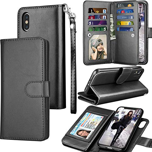 Moto E5 Plus Case, Motorola Moto E5 Supra Wallet Case, Tekcoo Luxury ID Cash Credit Card Slots Holder Purse Carrying PU Leather Folio Flip Cover [Detachable Magnetic Hard Case] & Kickstand - Black