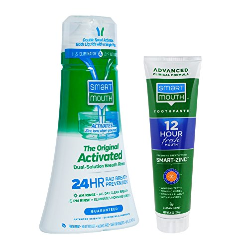 SmartMouth Original Activated Oral Rinse and Premium Toothpaste for 24 Hour Bad Breath ()