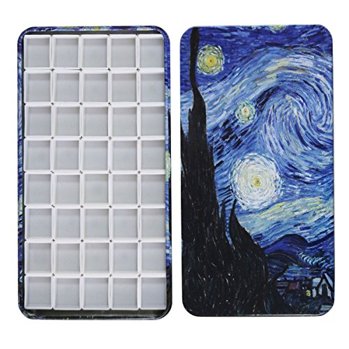 - FCLUB Watercolor Tins Palette Paint Case with 40Pcs Half Pans Carrying Magnetic Stripe on The Bottom - Starry Night by Vincent Van Gosh