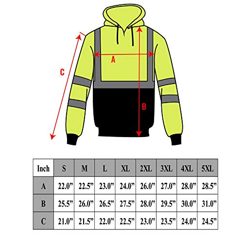 New York Hi-Viz Workwear H9012 Men's ANSI Class 3 High Visibility Class 3 Sweatshirt, Full Zip Hooded, Lightweight, Black Bottom (XX-Large) by New York Hi-Viz Workwear (Image #7)