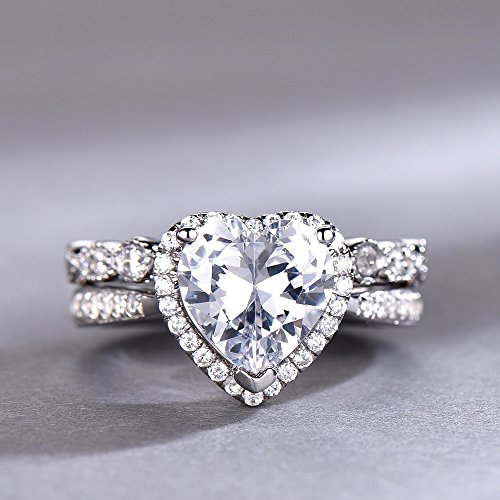 (8mm Heart Shaped Engagement Ring Set Diamond CZ Wedding Ring Halo Ring Promise Ring Man Made Diamond Eternity Band White Gold Plated)