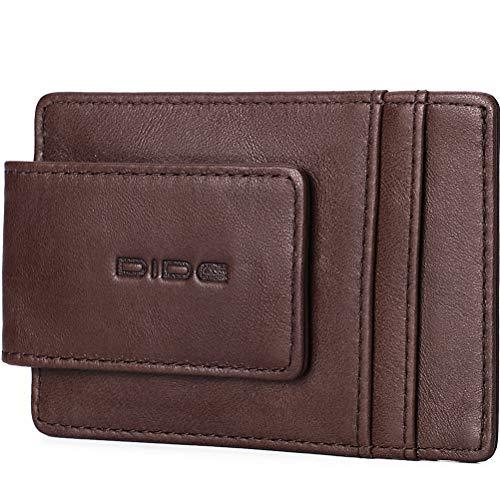 Money Clip Minimalist Front Pocket Genuine Leather Slim Wallet RFID Blocking