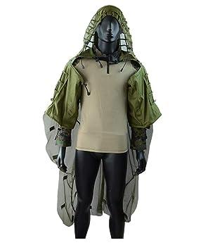 Airsoft traje de camuflaje manto, traje con capucha de víbora Base Red Ghillie Juego de