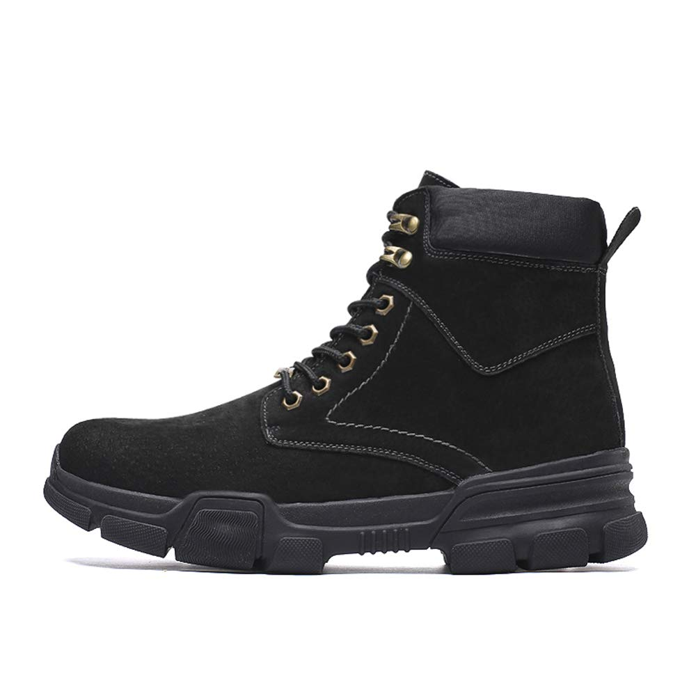Ankle Boots gobling Men's Fashion Ankle Boots Casual High-top Lace Up Outdoor Big Size Work Boots (Color : Black, Size : 8 D(M) US)