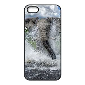 DIY Cover Case with Hard Shell Protection for Iphone 5,5S case with Bathing Elephant lxa#844915