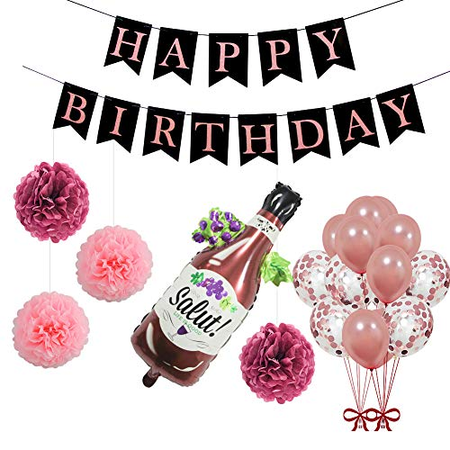 UTOPP Rose Gold Happy Birthday Letters Banner Bunting, Paper Pom Poms, Large Size Bottle Balloon Confetti Balloons Helium Latex for 18th 21st 30th 40th 50th Rose Gold Birthday Party Supplies -