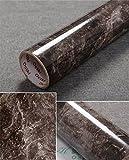 "granite kitchen countertops Yancorp 17.9""x78.7"" Marble Contact Paper 1.49ft x 6.56ft Removable Wallpaper Film Self-Adhesive Granite Sticker Kitchen Peel Stick Backsplash Marble Tile Countertop Furniture Shelf (Big, Black Brown)"