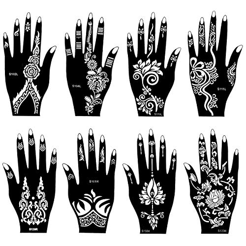 SKYMORE 8 PCS Henna Tattoo Stencil Temporary Tattoo Temples Set Indian Arabian Tattoo Reusable Stickers Stencils Body Art Designs for Hands 8.62''x 4.68''