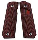 COOL HAND 1911 Grips, Full Size(Government/Commander), FREE Screws included , Ridges Texture, Big Scoop,G10,Ambi Safety Cut,Red/Black