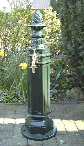 Standbrunnen Zapfsäule Jugendstil Brunnen Alu Guss Grün Amazonde
