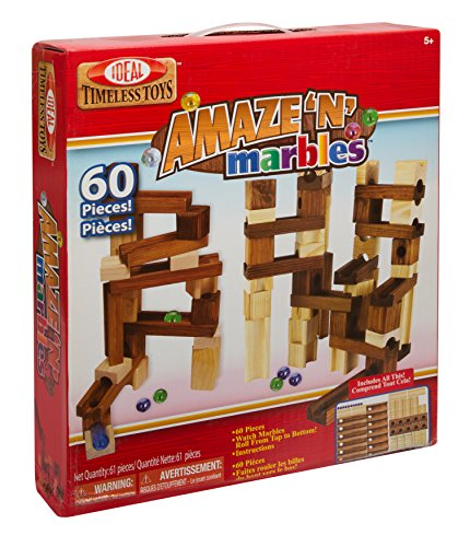 Ideal Amaze 'N' Marbles 60 Piece Classic Wood Construction Set from Ideal