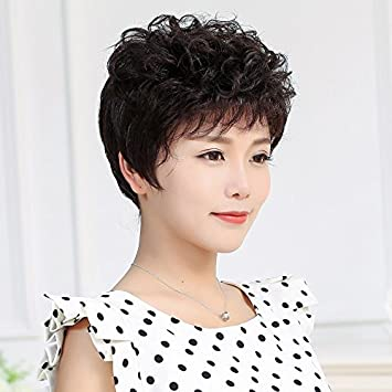 Amazon.com : . women girls female short hair wig natural short curly ...