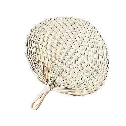 PROKTH Handmade Fans,Handmade Palm-Leaf Fan,Natural Raffia Hand Fans,Summer Cool Fan for Camping Hiking Home Wedding Decoration]()