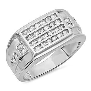 044 Carat Ctw Sterling Silver Round White Diamond Mens Hip Hop Wedding Band