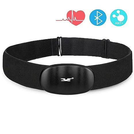 DINOKA Sensor De Frecuencia Cardiaca Bluetooth 4.0 Ant+ Impermeable,Monitor De Ritmo Cardíaco, Monitor De Actividad Pulsómetro, Monitor De Pecho para ...