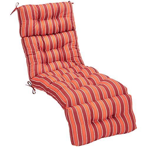 AmazonBasics Lounger Patio Cushion Patio Cushion - Red Stripes ()