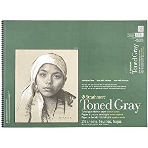 Strathmore STR-412-118 24 Sheet Toned Gray Sketch Pad, 18 by 24""