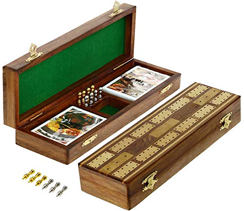 SKAVIJ Solid Wood Cribbage Board Game Set 2 Track with 8 Metal Peg (10.2 Inch, Brown) ()