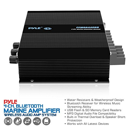 Pyle 4 Channel Marine Amplifier - Compact Power 400 Watt RMS 4 OHM Full Range Stereo & Waterproof - Wireless Bluetooth Receiver Audio Speaker with LCD Digital Screen - PFMRA440BB by Pyle (Image #3)