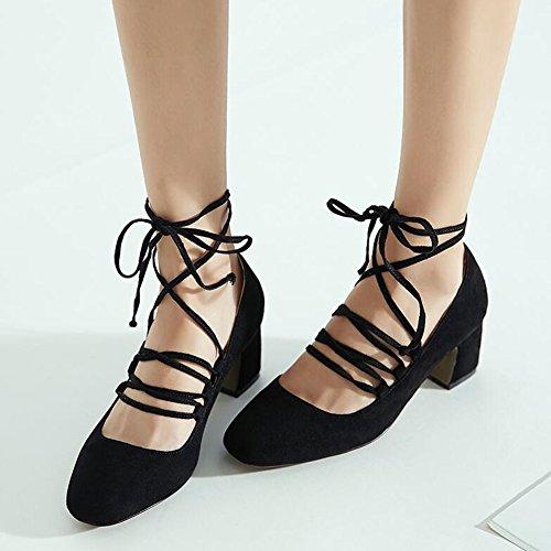 Polvo 5 Grueso CN37 Tamaño Zapatos Spring YIXINY Mujer tacón Gris Cuadrada Cabeza 3 UK4 3 5cm Talón de 5 Verde Negro De Color Zapatos 3 Tacón EU37 6vxqg