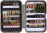 BASSDASH Trout Steelhead Salmon Fishing Flies Assortment 40/56/57/58pcs Include Dry Wet Flies Nymphs Streamers