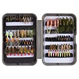 Bassdash Fly Fishing Flies Kit Fly Assortment Trout Fishing with Fly Box, 36/64/72/80/96pcs