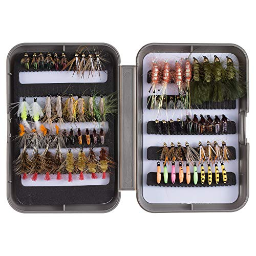 Cone Fishing - Bassdash Fly Fishing Flies Kit Fly Assortment Trout Fishing with Fly Box, 36/64/72/80/96pcs with Dry/Wet Flies, Nymphs, Streamers, Popper (76 pcs Assorted Flies kit with Fly Box)