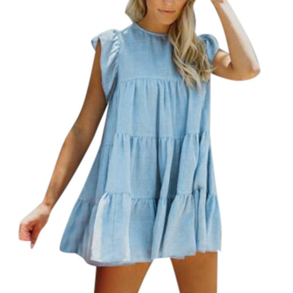 Women Sexy Mini Dress Casual Sleeveless Ruffle Evening Party Club Dressed Loose Cotton Linen Plus Size Short Dress (Blue, XXL)