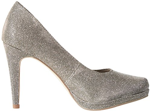 Tamaris Women's 22446 Closed-Toe Pumps, Shell Comb, 5 UK Silver (Platinum Glam 970)