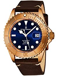 Diver Mens Rose Gold Automatic Dive Watch - 42mm Blue Face with Luminous Hands, Magnified