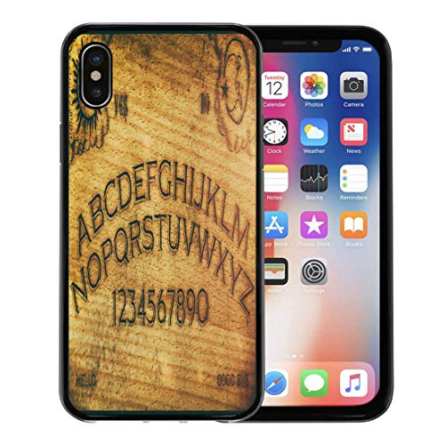 Semtomn Phone Case for Apple iPhone Xs case,Seance Ouija Board Talking Spirit Ghost Old Contact Dead Death for iPhone X Case,Rubber Border Protective Case,Black]()