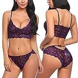 ADOME Women's Lace Lingerie Bra and Panty Set Strappy Babydoll Bodysuit Purple L