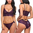 ADOME Women's Lace Lingerie Bra and Panty Set Strappy Babydoll Bodysuit Purple S