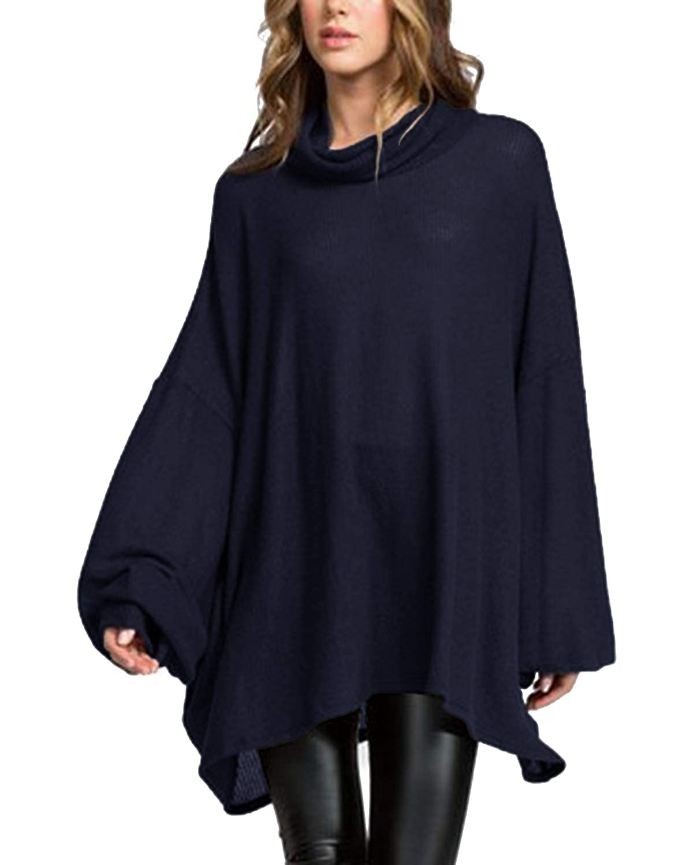 ACHIOOWA Donna Maglia Maniche Lunghe Pullover Autunno Alta Colletto Collare T Shirt Ragazza Camicette Lunghe Blusa Elegante Maglione Oversize