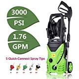 Binxin PXW3301 Electric Pressure Washer 3000 PSI High Pressure Power Washer Machine,1800W Pressure Washer Hose Gun Wand Built in Soap Dispenser + (5) Nozzle Adapter,1.80 GPM (3000PSI-NEW Model)