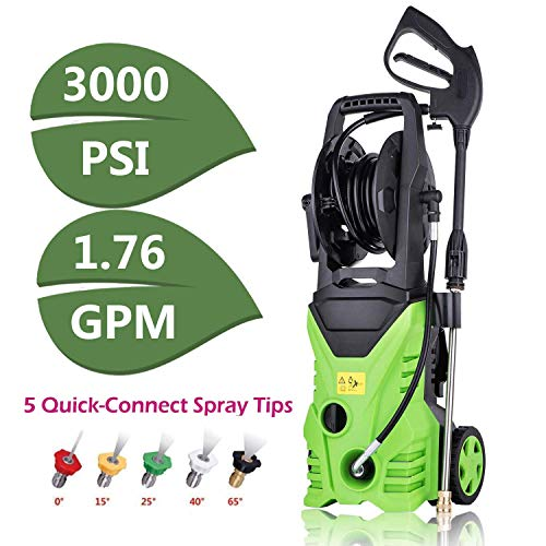Cheap Binxin PXW3301 Electric Pressure Washer 3000 PSI High Pressure Power Washer Machine,1800W Pressure Washer Hose Gun Wand Built in Soap Dispenser + (5) Nozzle Adapter,1.80 GPM (3000PSI-NEW Model)