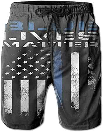 95205da4f9 Huadduo Mens American Thin Blue Line Flag Summer Breathable Swim Trunks  Beach Shorts Cargo Shorts