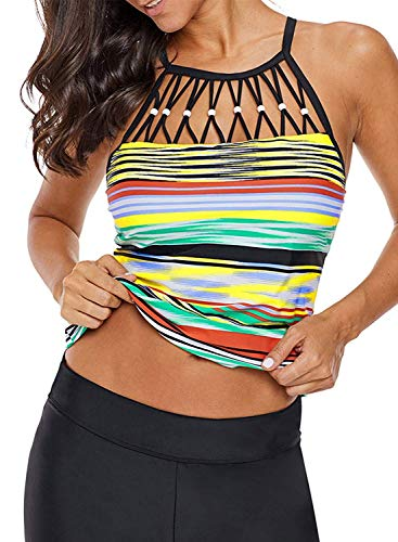 Trim Bead Top - BINYATUO Womens Color Block Printed Strappy Bead Trim Beach Tankini Swim Top No Bottom S - XXXL Multicoloured-1 Small 4 6