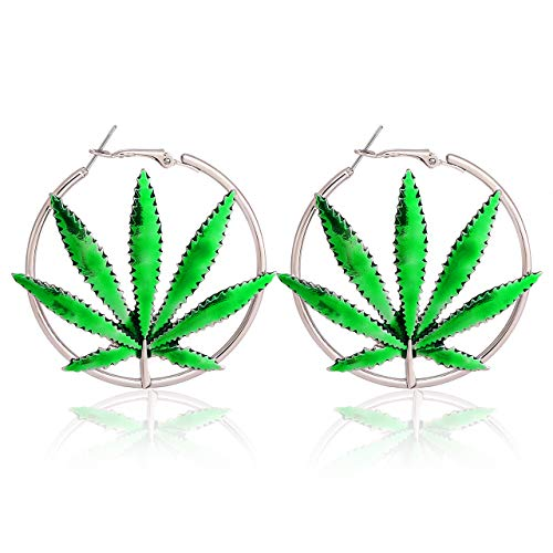 (boderier Hoop Earrings for Women Saint St Patricks Day Green Cannibis Weed/Pot Marijuana Leaf Earrings Fashion Jewelry (Silver))