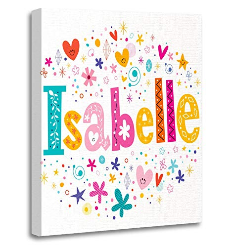 Emvency Painting Canvas Print Artwork Decorative Print Baby Isabelle Girls Name Lettering Design Announcement Avatar Badge Birth Wooden Frame 12x16 inches Wall Art for Home Decor