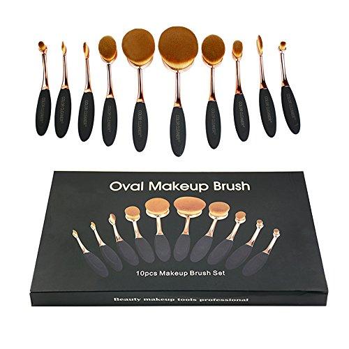 10pcs Contour Makeup Brushes Soft Oval Foundation Brush, Professional Toothbrush Foundation Brushes Powder Blusher Curve Cosmetic Makeup Kit Cream Contour Concealer Blush Tool - Box Package